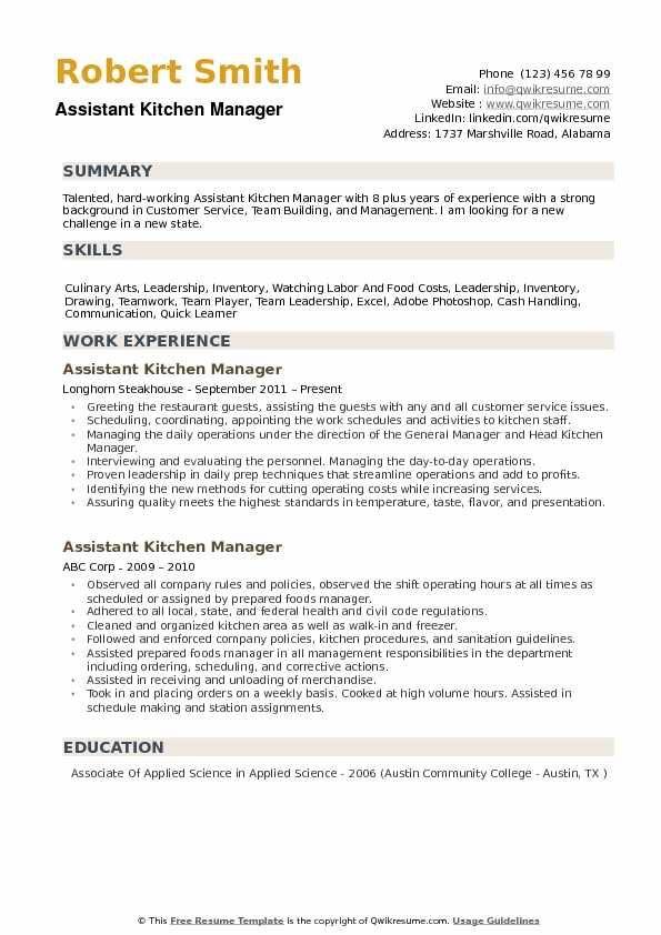 Assistant Kitchen Manager Resume Samples Qwikresume Manager Resume Resume Templates Resume