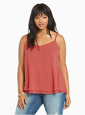 Double Layered Chiffon Cami  http://www.torrid.com/product/double-layered-chiffon-cami--/10676706.html?cgid=tops-camis