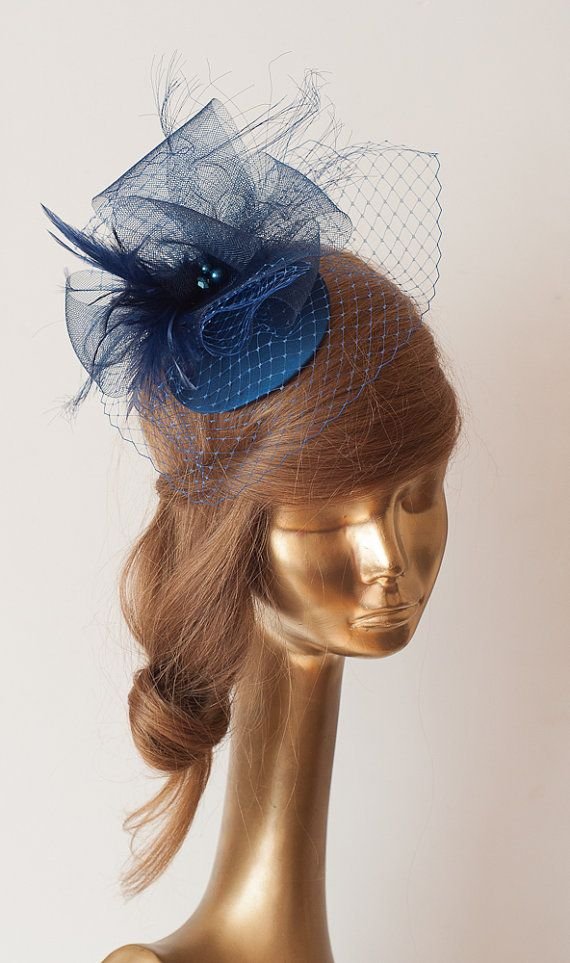 Navy Blue FASCINATOR with BIRDCAGE VEIL  Wedding by ancoraboutique, $145.00