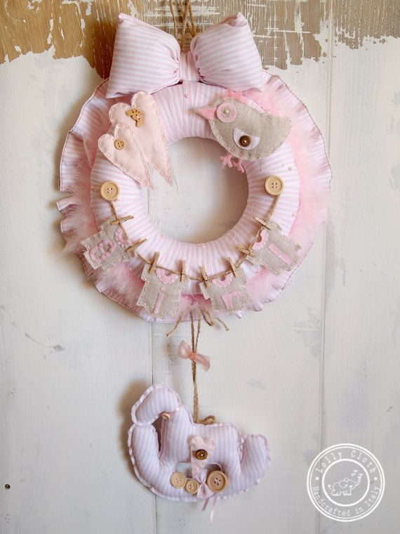 Hospital Door Hanger & Pink Baby Girl Birth by #LollyCloth. Check out www.lollycloth.etsy.com
