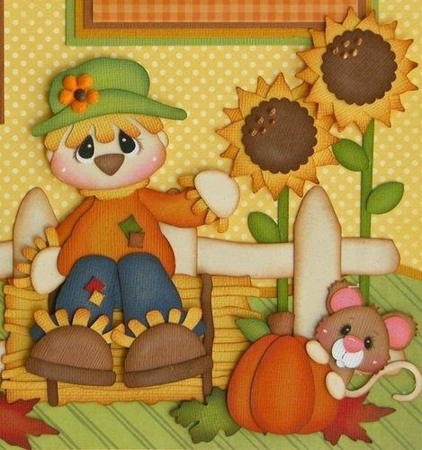 fall harvest scrapbook layouts | MOMZ MP2G FALL HARVEST SCARECROW BOY GIRL Premade Scrapbook Pages ...