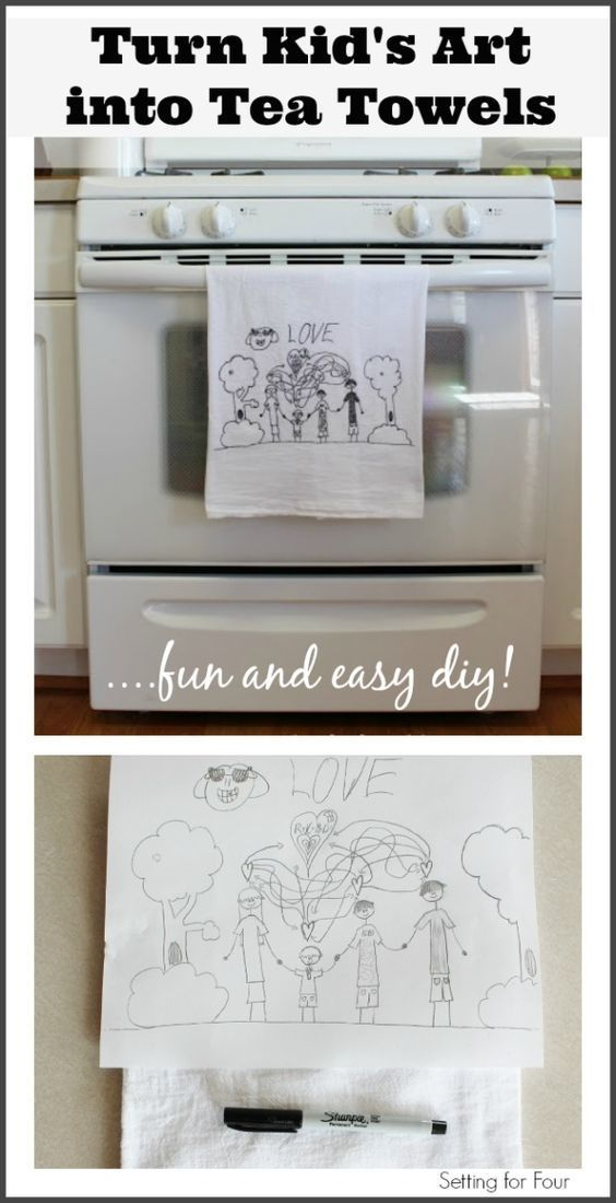 It's easy! How to Turn Kid's Art into Tea Towels! Decorate your kitchen with the kiddo's fun art creations.  Great gift idea!