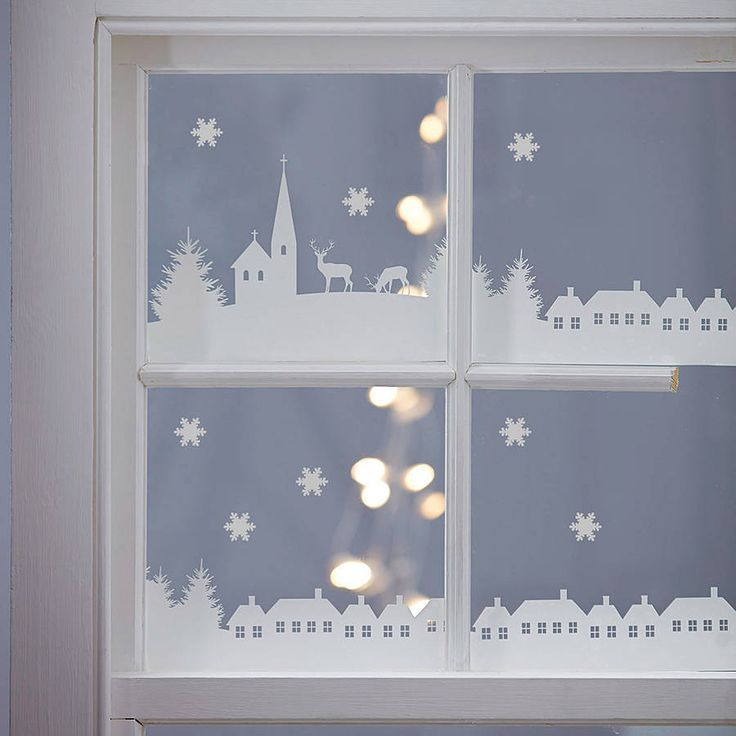 christmas village scene vinyl stickers by nutmeg | notonthehighstreet.com