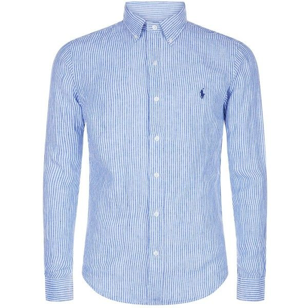 Polo Ralph Lauren Fine Stripe Linen Shirt ($140) ❤ liked on Polyvore featuring men's fashion, men's clothing, men's shirts, men's dress shirts, mens linen shirts, mens dress shirts, mens linen dress shirt, mens striped shirt and mens stripe shirts