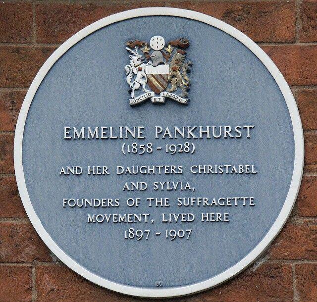 Plaque on Emmeline Pankhurst's house, now the Pankhurst center.