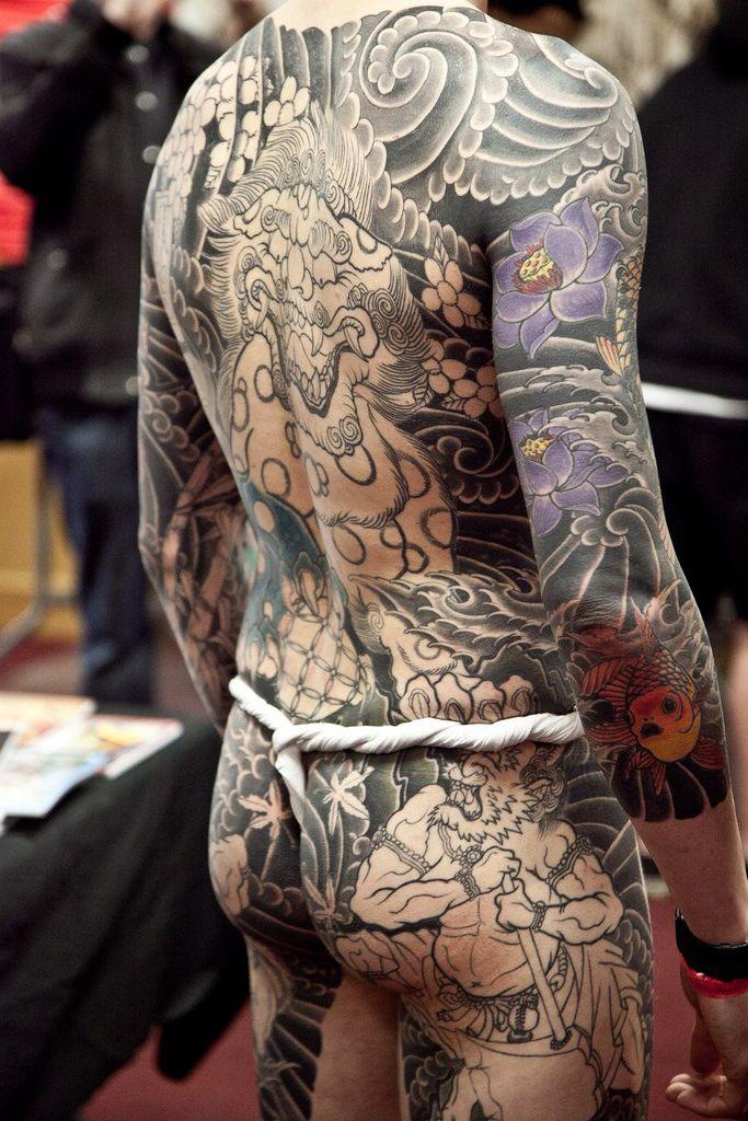 Man Yakuza Cigar Tattoo: Black And White Japanese Yakuza Tattoo On Body Back