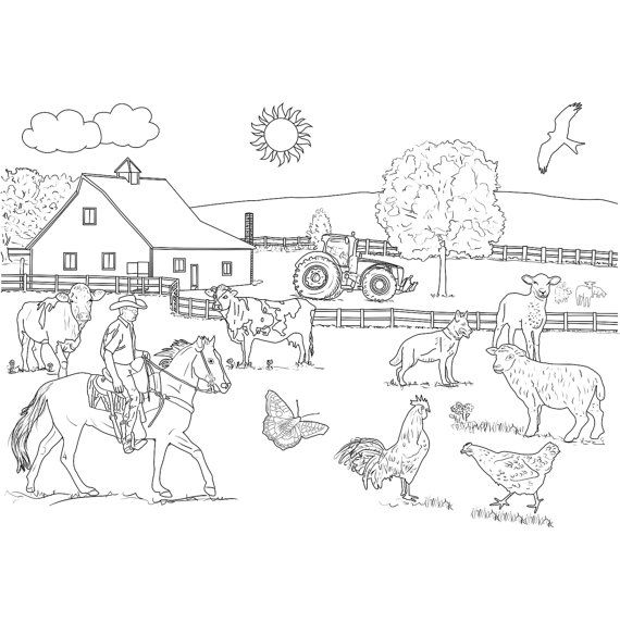 Adult Coloring Page Farm Poster Size Instant Download by Recyman
