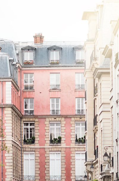 Pink Paris apartment building