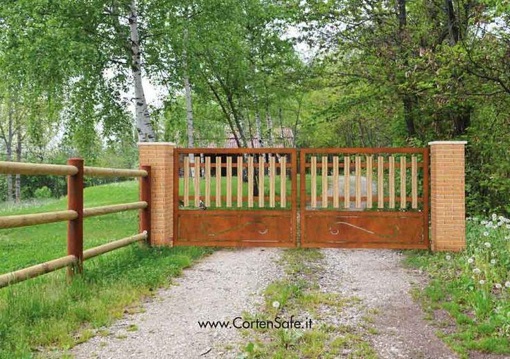 #Cancello in #acciaio #corten con base decorata. Modello Grazia.