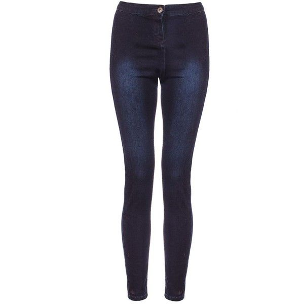 Navy Denim Stretch Skinny Jeans ($31) ❤ liked on Polyvore featuring jeans, pants, blue skinny jeans, super stretch jeans, stretch skinny jeans, stretchy jeans and blue jeans
