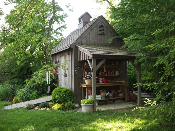 Our 9'x 11' even pitch Garden Shed with open lean-to. www.countrycarpenters.com