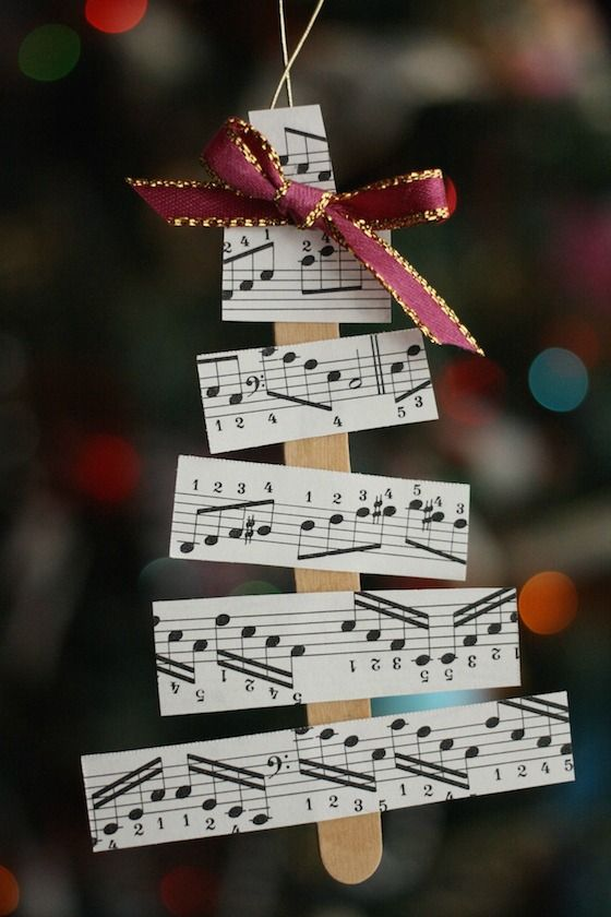 Sheet Music Christmas Tree Ornaments for kids to make.  Great for your own tree or as gift-toppers for your music-loving friends and family members - Happy Hooligans