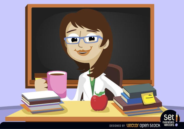 Young woman as a teacher drinking a coffee behind her classroom desk, over it there are books and an apple. Nice image to promote education, schools or teachers