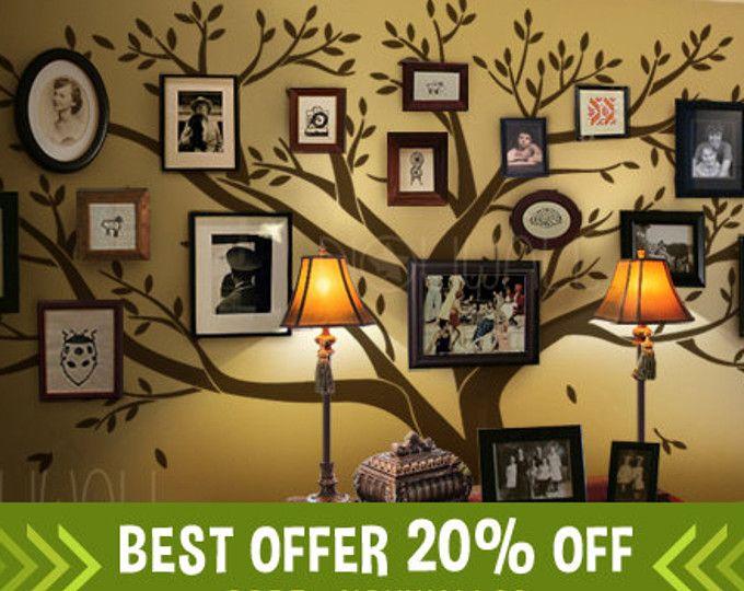 Decalcomanie da muro, albero di albero genealogico Wall decal - Living Room Stickers murali - foto cornice Wall Stickers - grafico di parete