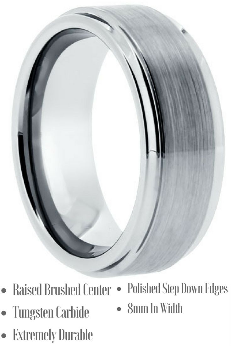 8mm mens silver brushed tungsten wedding band with step down edges