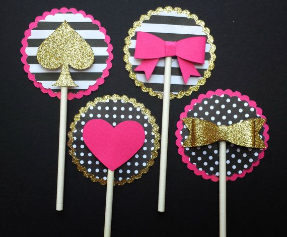 Pink Gold Black-Bow Heart & Spade Cupcake by LemonSugarStudios