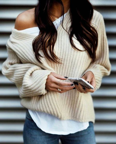 ribbed sweaters + denim