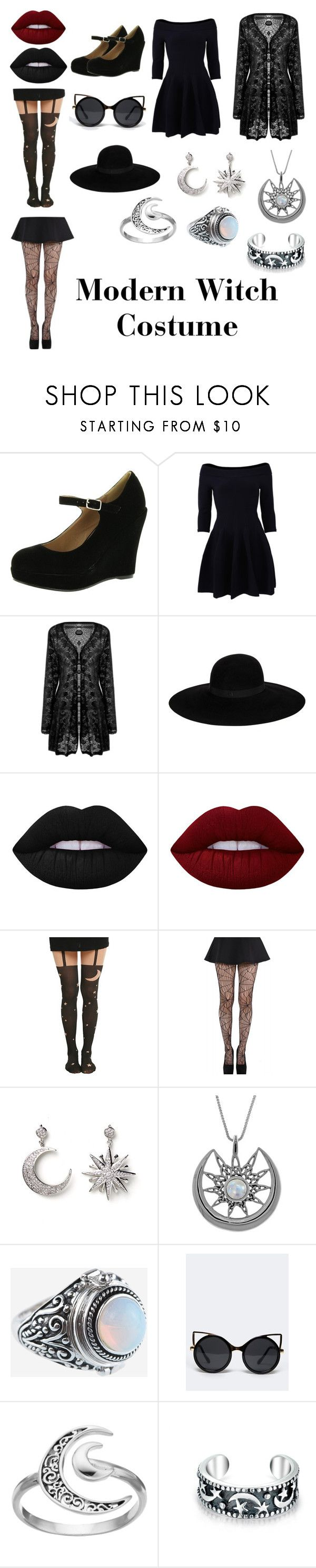 """Modern Witch Costume"" by spookyfinn ❤ liked on Polyvore featuring Bonnibel, Jonathan Simkhai, Maison Michel, Lime Crime, Pamela Mann, Amrita Singh, Carolina Glamour Collection, Rock 'N Rose, ZooShoo and Primrose"