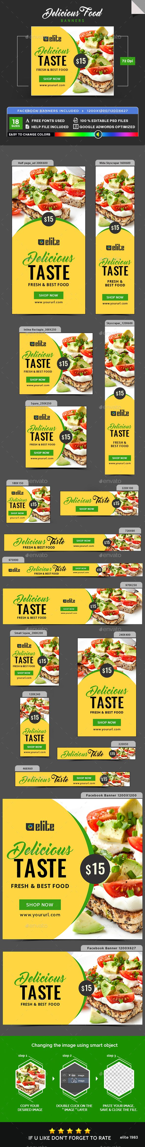Design banner template - Delicious Food Banners