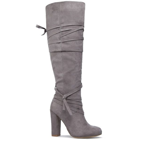 ShoeDazzle Boots Jimari Womens Gray ❤ liked on Polyvore featuring shoes, boots, grey, knee high boots, wrap boots, knee boots, gray shoes and grey shoes