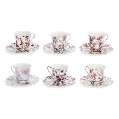 Assorted Chintz Teacups & Saucers Case of 48 Wholesale Tea Cups FREE Shipping