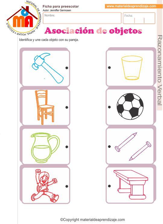"""Ficha de aplicación""""Asociación de objetos"""" para trabajar con niños de educación inicial 5 años, en el área de razonamiento verbal."""