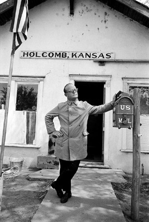 Truman Capote in Front of Holcomb Kansas Post Office, 1967, by Steve Schapiro [by the time he was writing In Cold Blood???]