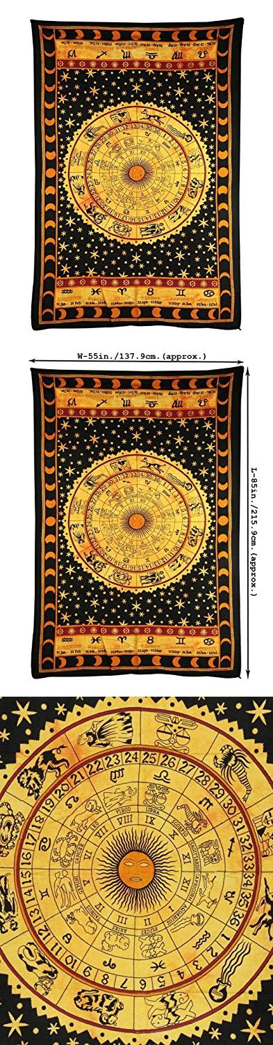 Black Zodiac Horoscope Tapestry, Hipp Bohemian Tapestries, Indian Dorm Decor, Psychedelic Tapestry Wall Hanging Ethnic Decorative Tapestry, By KK Export