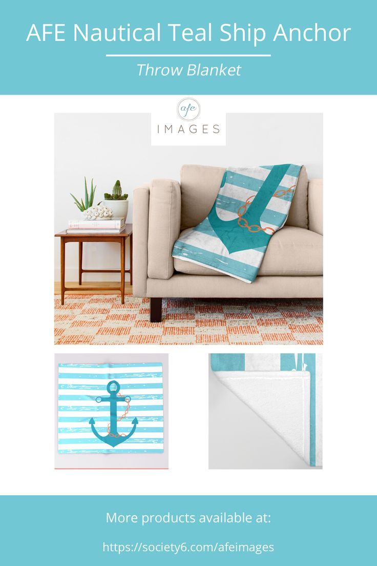 Illustration of a ship anchor and chain in a teal color with blue and white stripped background. © Amalia Ferreira-Espinoza www.afeimages.ca For custom orders or design please email amalia@afeimages.ca
