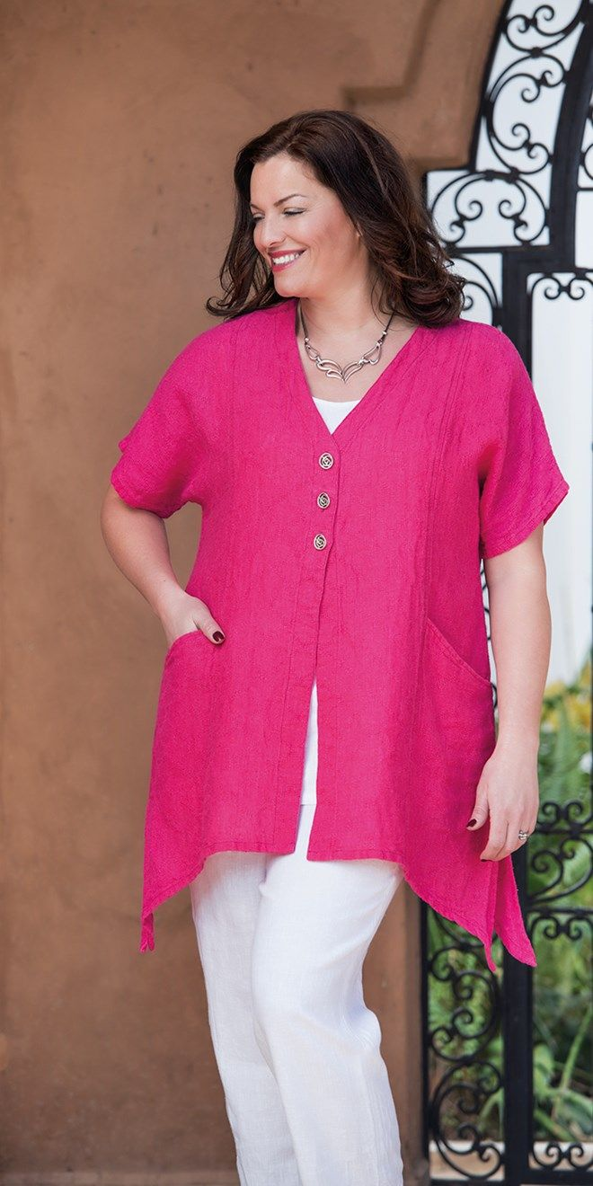 Kasbah fuchsia linen textured short sleeve jacket at Box 2