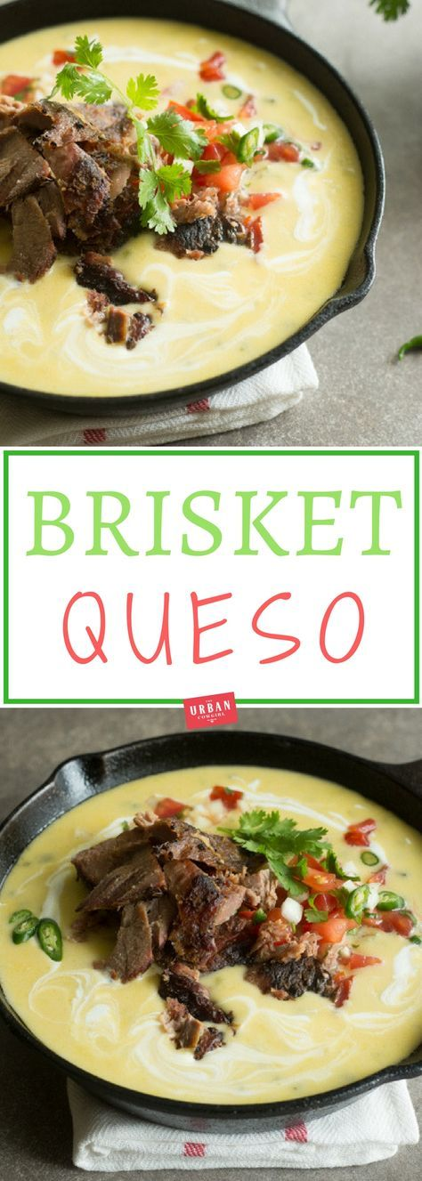Get the recipe for this brisket queso and the Urban Cowgirl's authentic, Texas-style queso. A great idea for leftover brisket and tailgating recipes. #brisket #barbecue #recipes