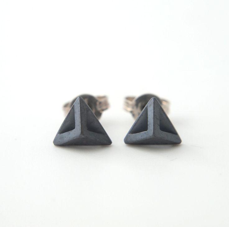 Tiny Square Part B (pyramid) studs. oxidized sterling silver. www.aimeesutanto.com