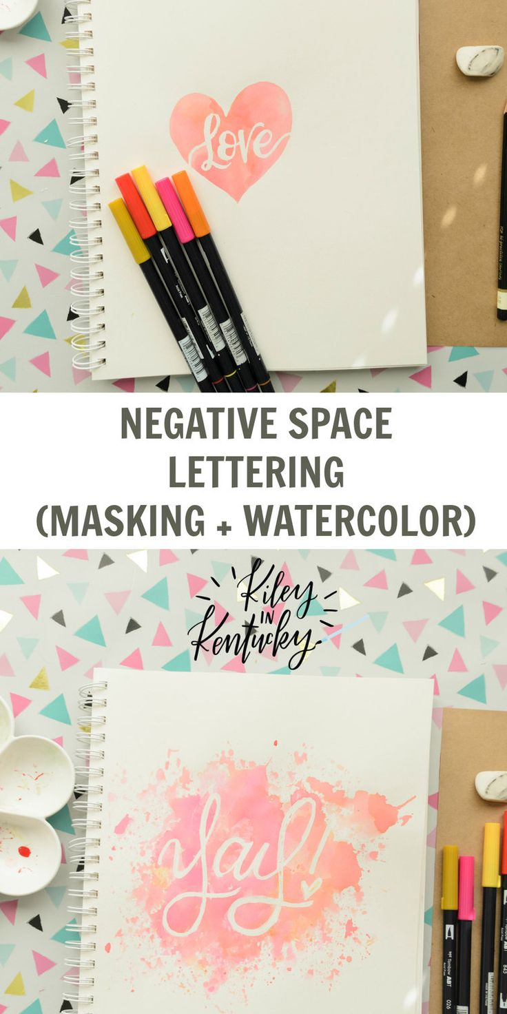 Negative Space Letter Pt. 2 (Masking + Watercolor) — KILEY IN KENTUCKY
