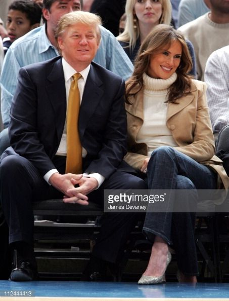 Donald Trump and Melania Trump during Celebrities Attend the Washington Wizards vs New York Knicks Game November 4 2005 at Madison Square Garden in...