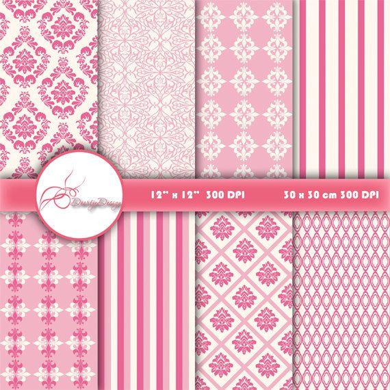 Pink damask digital paper. Pink digital paper by DoortjeDesign