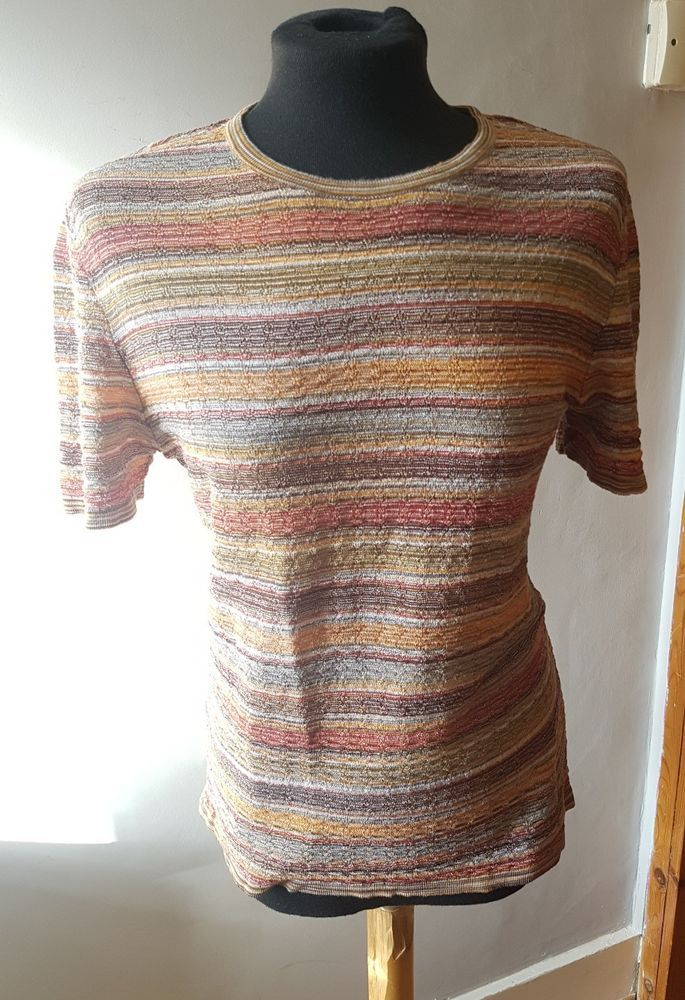 MISSONI Multi-Colour Striped Short-Sleeve Knit Stretch Top UK 16 (50 Italy) #Missoni#Stretch#Top#multicolour#knit#