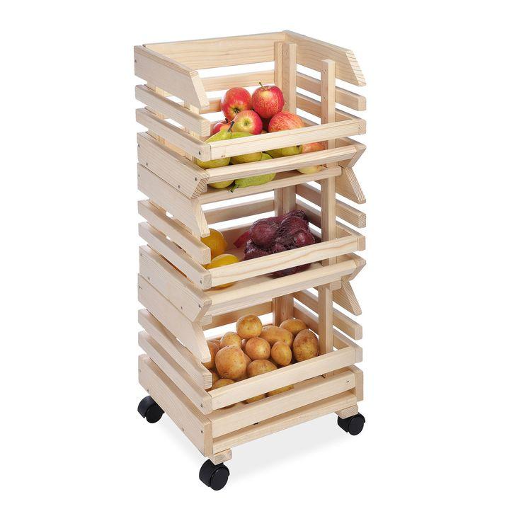Cucina Carrello a 3 piani e bobine in vero legno