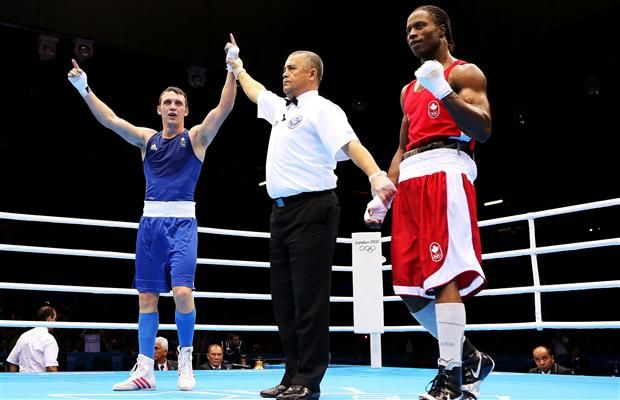 http://www.MilitaryGradeNutritionals.com/blog  Freddie Evans of Great Britain celebrates after his victory over Custio Clayton of Canada during the Men's Welter (69kg) Boxing on Day 11 of the London 2012 Olympic Games at ExCeL on August 7, 2012 in London.