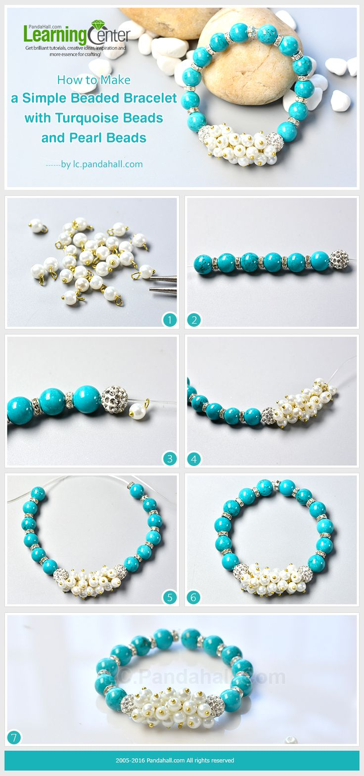 How to Make a Simple Beaded Bracelet with Turquoise Beads and Pearl Beads