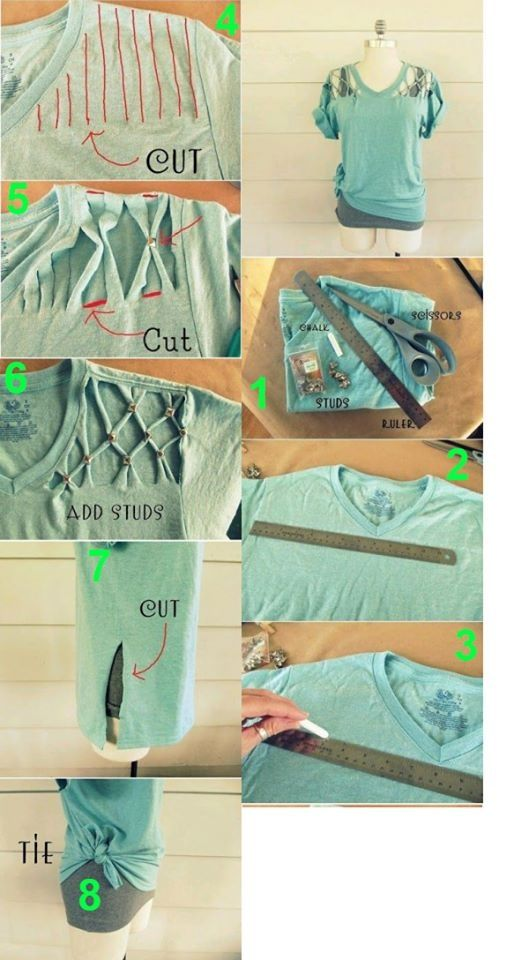 Day 6, May 28 (6th Day Of Summer) Materials- tshirt, scissors, ruler, and studs Directions- Get t- shirt and ruler and cut lines vertically along shoulder line approx. 1/2 an inch apart. Put each 2 together using studs.                                                                                                                                                      More
