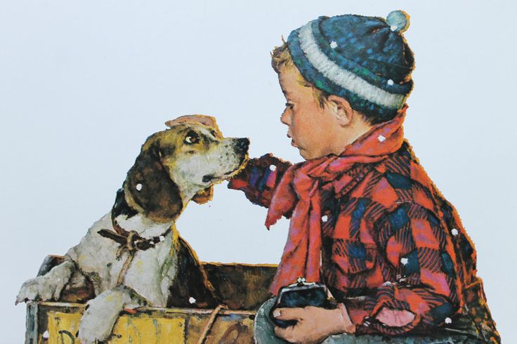 Norman Rockwell Winter | Norman Rockwell WINTER, 1958 - Vintage Norman Rockwell Art Print from ...