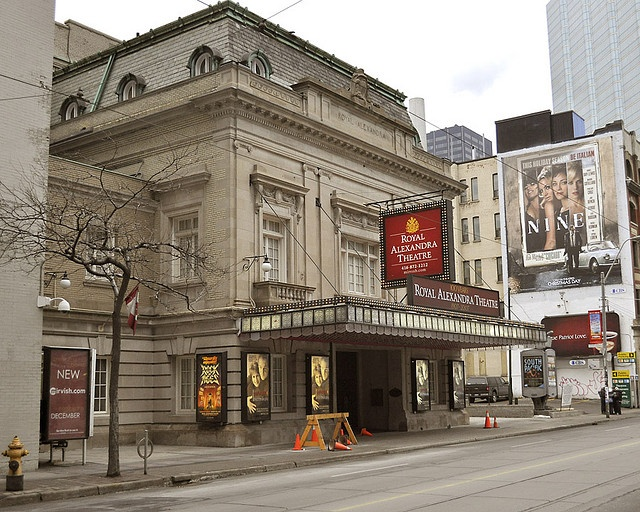 The Royal Alexandra Theatre is a theatre in Toronto, Ontario, Canada located near King and Simcoe Streets. Built in 1907, the Royal Alex is the oldest continuously operating legitimate theatre in North America. A 1500-seat, beaux-arts style, proscenium-stage theatre, with two balcony levels, built in the style typical of 19th century British theatres. Construction began in 1905 and was completed in 1907.