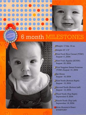 KEEP THE LOOK CLEAN AND SIMPLE (milestones, one for each month through the first year then yearly after that)