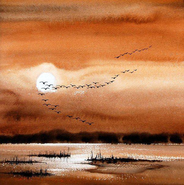 Malen Malerei Sonnenuntergang Malen Malerei Sonnenuntergang