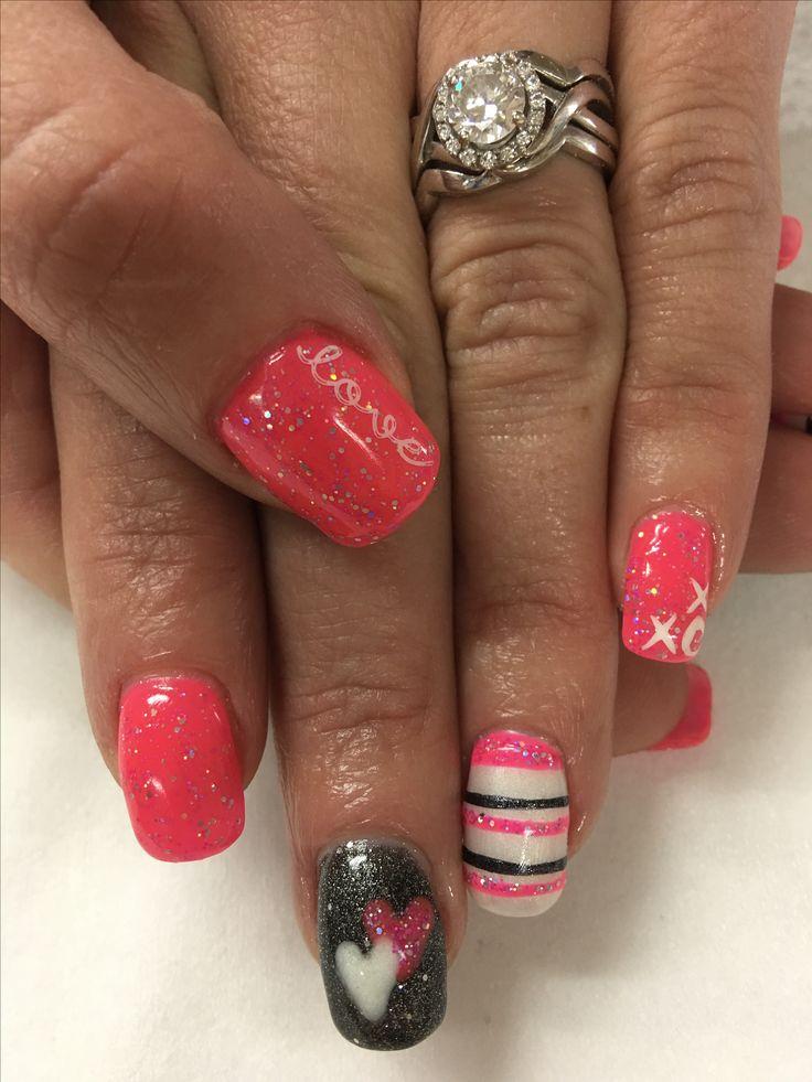 Bright Pink Valentines Gel Nails
