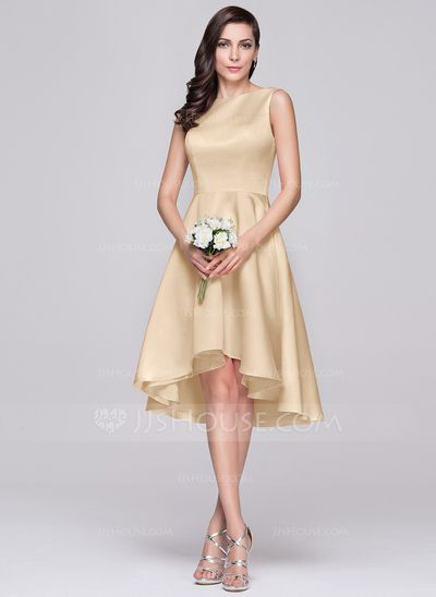 A-Line/Princess Scoop Neck Asymmetrical Satin Bridesmaid Dress (007060608)