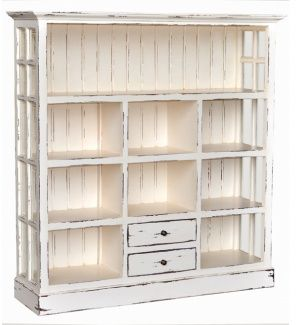 White Distressed Bookcase Shabby Chic