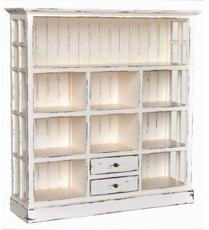 White Distressed Bookcase