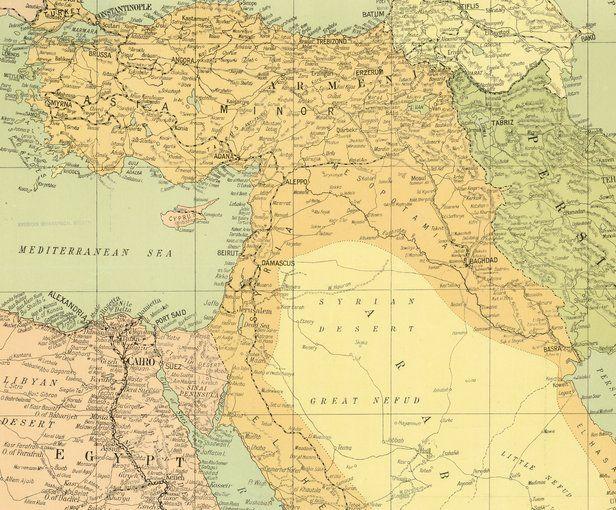 Carte de guerre de l'Égypte et du Proche–Orient (numéro6), parue dans le «Daily Telegraph»