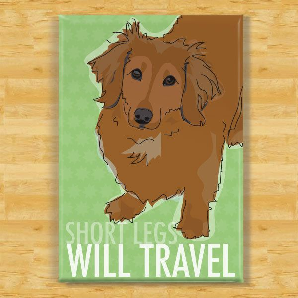 Dachshund Magnet - Short Legs Will Travel - Longhaired Red Dachshund Gifts Dog Refrigerator Fridge Magnets by PopDoggie on Etsy https://www.etsy.com/listing/106740889/dachshund-magnet-short-legs-will-travel